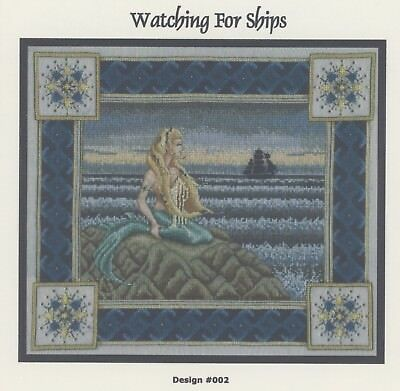 Patricia Allison - Watching for Ships Mermaid Ocean Cross Stitch Pattern