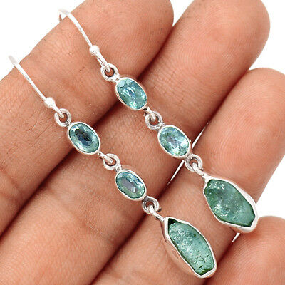 Aquamarine Rough & Blue Topaz 925 Silver Earrings Jewelry EE123296