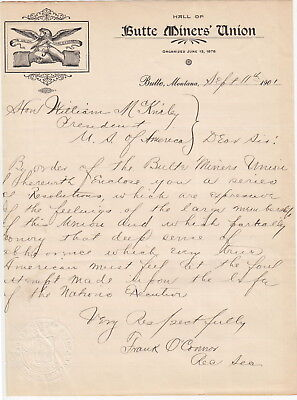 Butte Miners' Union 1901 Montana Letter Death Pres William McKinley