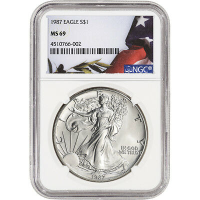 1987 American Silver Eagle - NGC MS69 - Flag Label
