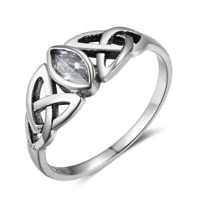 Retro Vintage Solid 925 Sterling Silver Celtic Knot Women Sapphire Crystal Rings