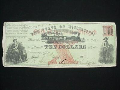 NobleSpirit NO RESERVE Desirable Confederate Currency $10 1862 Mississippi