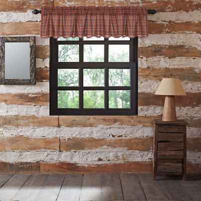 PARKER Plaid Country Primitive Rustic Lined VALANCE 16X72 Burgundy Natural Navy