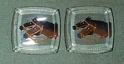 Vintage Super Rare Under-Carved & Hand Painted Horse Crystal Jewels  6 Pieces