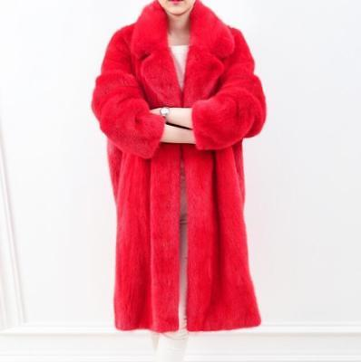 Women Coat Mid Long Parka Faux Fur Outwear Warm Loose Lapel Trench Jacket Hot SZ