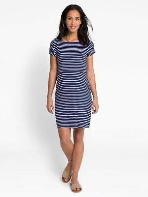 New JoJo Maman Bebe Maternity Navy / White Breton Stripe Nursing Dress Small 4 6