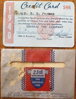 Credit Card & Pouch: 'General Tire Company' - 1940 - Nashville, TN Tennessee