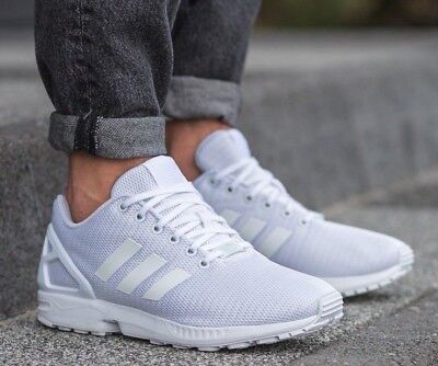 cd47b4e8601a4 New ADIDAS Originals ZX Flux Casual Sneakers Mens triple white all sizes