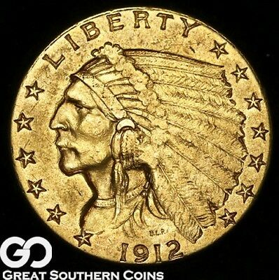 1912 Quarter Eagle, $2.5 Gold Indian ** Free Shipping!