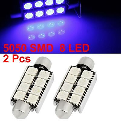 2pcs 42mm Blue 5050 SMD 8 LED Festoon Dome Map Lights Internal Lamp for Car
