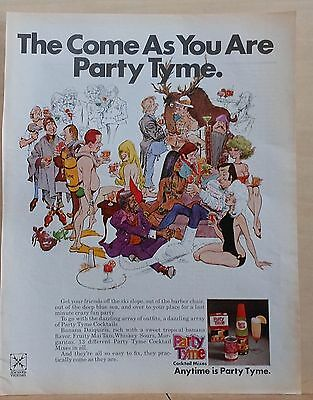 1971 magazine ad for Party Tyme Cocktail Mixes, Mort Drucker illustration, party