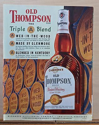 1952 magazine ad for Old Thompson Whiskey - The Triple A Blend, bottle & barrels