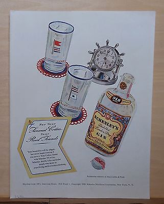 1940 magazine ad for Schenley's Gin - Nautical theme by Abercrombie & Fitch