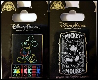 Disney Parks 2 Pin Lot Mickey Mouse chalkboard type black white + color design