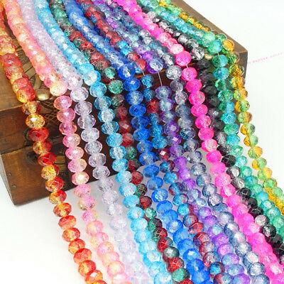 New Flor 40pcs Rondelle Faceted Crystal Glass Loose Spacer Beads 8mm DIY