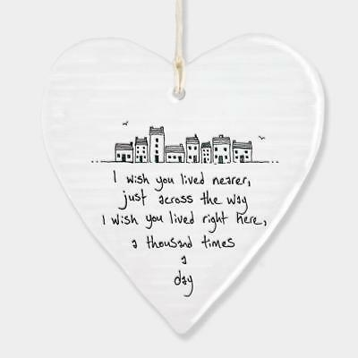 East Of India Hanging Heart Gift I wish you lived nearer 6202-EOI