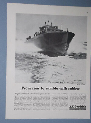 1943 B.f. Goodrich Ad Pt Boat With Rubber Pipes For Mufflers Wwii Ad