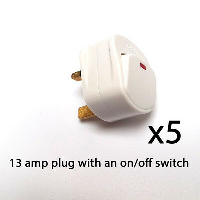 Mains Plug Top with switch on/off 13A Amp Fused switched neon light white x 5