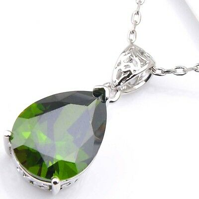 Water Drop Natural Olive Peridot Solid Silver Necklace Pendant With Free Chain