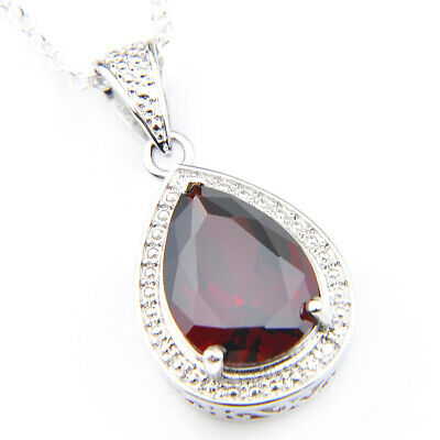 Birthstone Natural Red Fire Garnet Platinum Plated Necklace Pendant + Free Chain