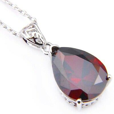 Engagement Party Gift Fire Red Garnet Gemstone Platinum Plated Necklace Pendants