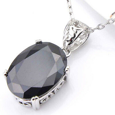 Woman Oval Shaped Black Onyx Gems Silver Necklace Pendants with Free Chain