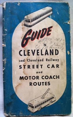 THE CLEVELAND RAILWAY COMPANY CITY STRRET CARS TRANSPORTATION MAP 1930s VINTAGE