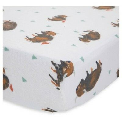 NEW Little Unicorn Fitted Crib Sheet - Bison