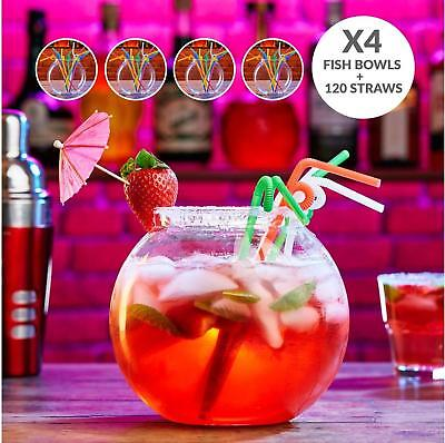 Andrew James 4 x 3L Plastic Cocktail Fish Bowl + 120 Straws Party Drinks Punch