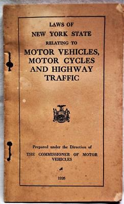 New York State Motor Vehicle Motorcycle Traffic Highway Laws Manual 1926 Vintage