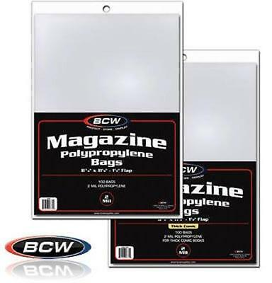 (100) Magazine Thick Polypropylene Poly Bags Protector Slips BCW Acid Free 2 Mil