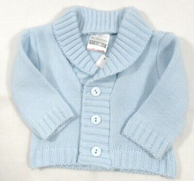 Baby Boys Button Cardigan Smart V Neck Blue Knitted Cable Knit 6-12 M Baby 1 511