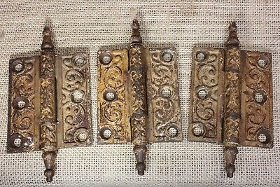 """3 Door Hinges 3 X 2 1/2"""" old rustic grained paint chipped vintage 1880's"""