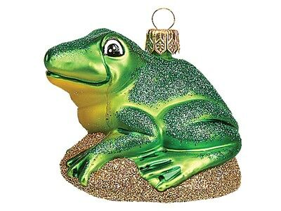 Green Frog Polish Mouth Blown Glass Christmas Ornament  Tree Decoration