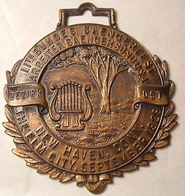 Antique Medal or Watch Fob New Haven CT Elm City 1929 Saengerfest