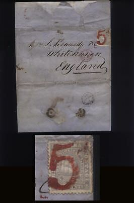 """1861 RARE BRITISH GUIANA letter, Essequibo to UK, 12c Ship cancelled by Red """"5d"""""""