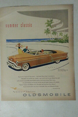 1953 Oldsmobile 98 Convertible Coupe-Beach-Palm Trees-Original 13.5 *10.5 Mag Ad