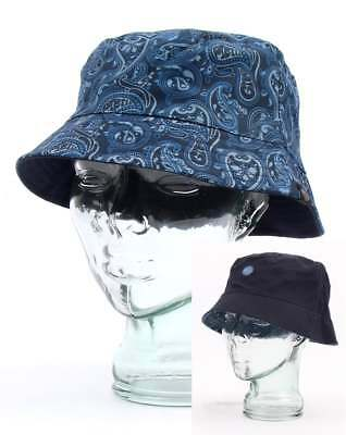 e3af5bccb PRETTY GREEN REVERSIBLE Bucket Hat in Tonal Paisley Print Blue - festival  hat