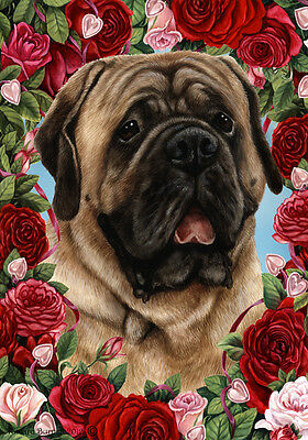 Large Indoor/Outdoor Roses Flag - Fawn Mastiff 19113