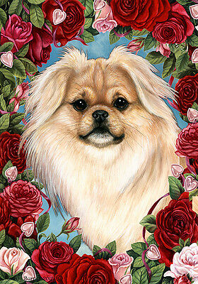 Large Indoor/Outdoor Roses Flag - Cream Tibetan Spaniel 19475