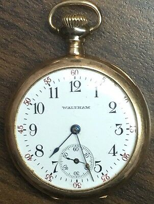 Waltham 14k Solid Gold Pocket Watch 34mm & 34.3 Grams