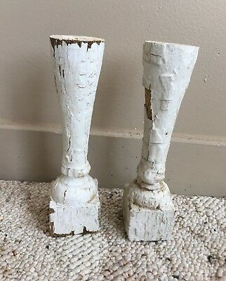 Two(2)1890's RECLAIMED Wood SHABBY Candle Stands Crusty White Balusters 181-18