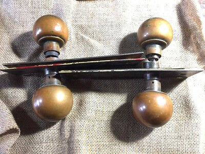 2 sets Antique Round Brass Door Knobs Handles Escutcheons Vintage Architectural