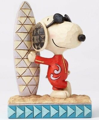 Jim Shore Peanuts Surfs Up Joe Cool Snoopy with Surfboard Figurine 4055655 New