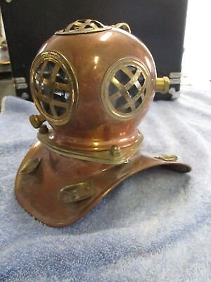 """Vintage miniature copper and brass divers helmet 7"""" tall"""