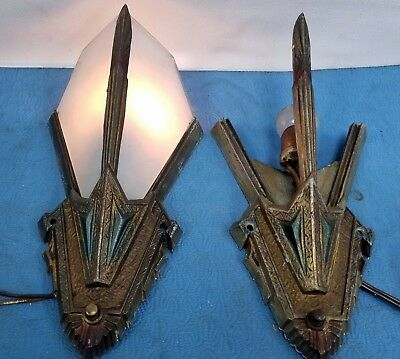 Pair Of Vintage Art Deco Slip Shade Wall Sconce Light Fixtures Cast Aluminum Old