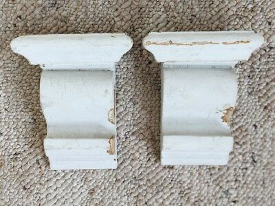 1910 Antique Pair(2) Wood Corbels Brackets Victorian Gingerbread White 184-18