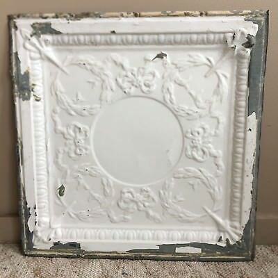 "1890's 24"" x 24"" Antique Reclaimed Tin Ceiling Tile White187-18 Anniversary"