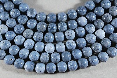 """Carefree Blue Fossil Coral 10Mm Round Beads 15.5"""" Strand Casual Elegance"""