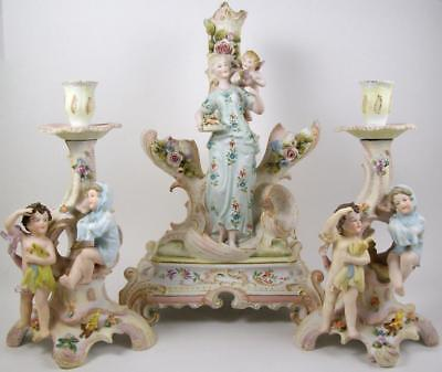 Vintage Rudolstadt Bisque Figural Centerpiece Vase with Candle Holders Germany